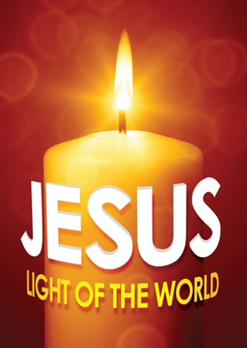 Candle with words Jesus Light of the World