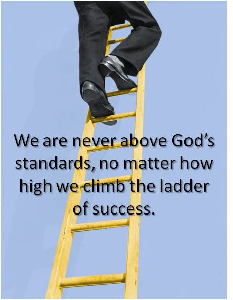 Man climbing ladder of success