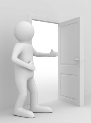 Person holding open a door