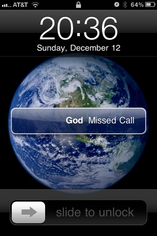 Cell phone with missed call from God