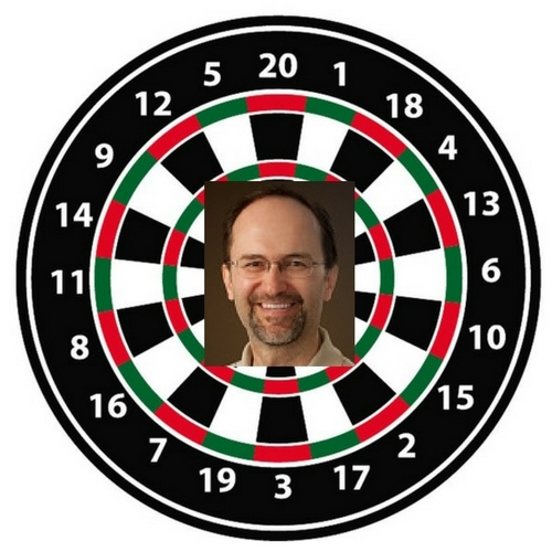 Dartboard with Randy's picture in the middle